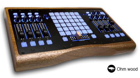 Ohm MIDI controller in hardwood case