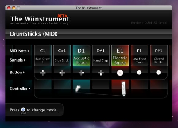 Wiinstrument Wii software on Leopard