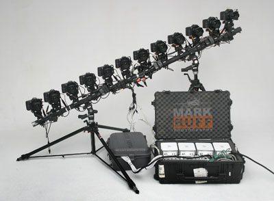 Mark Ruff's time slice rig, 12 EOS 10Ds, 12 Mac Minis.