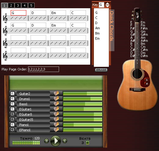 Free Web chord-based songwriting tool ChordStudio.com