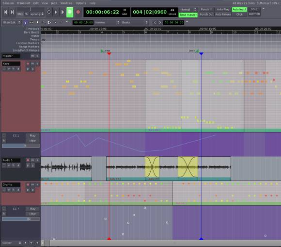 Ardour free MIDI and audio recording and sequencing DAW for Mac and Linux