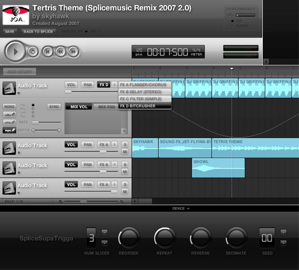 Splice, free online Web interface music for remixes