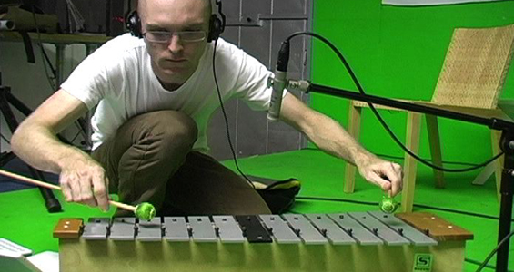 Brian Crabtree, sampling the xylophone