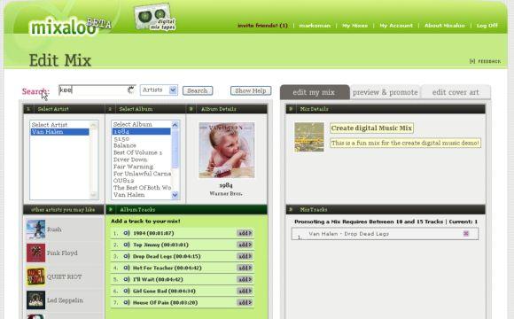 Mixaloo web mix tape demo