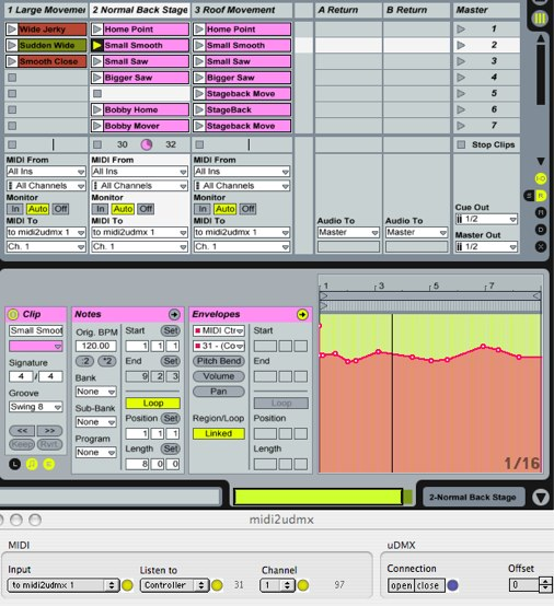 Controlling the iCue with Ableton Live and MIDI2uDMX
