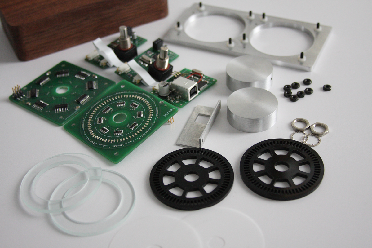 Disassembled Monome arc volume control