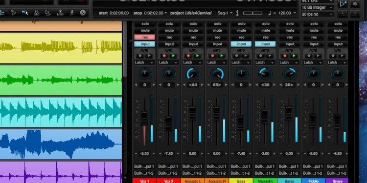 MOTU's revamped interface now comes with themes, like this lovely black version. And it runs on Windows, not just Mac. DP8, SONAR X2 each tune these mature DAWs; here's a look at what they have to offer. Image courtesy MOTU.