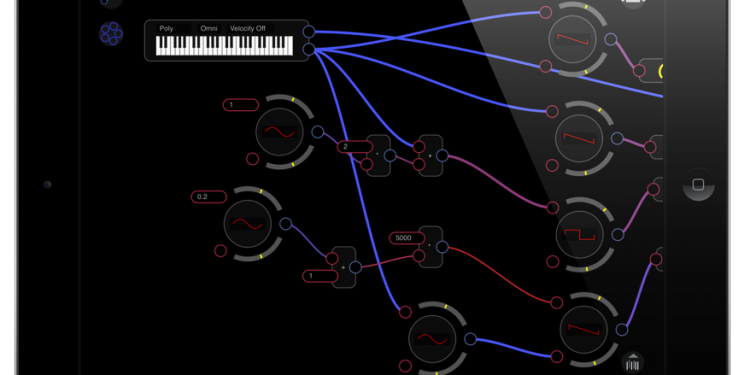 Audulus, looking quite nice on iPad. Click for the full-sized version. Courtesy the developer.