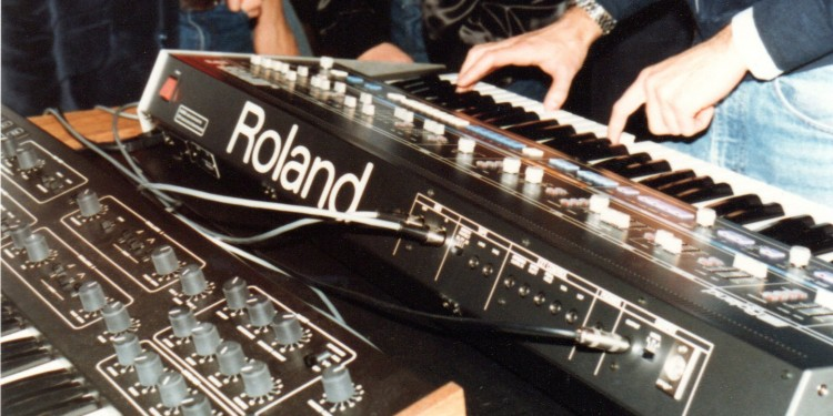 The year we made contact: photo evidence now proves that the first public MIDI connection was made between a Sequential Circuits Prophet 600 and a Roland Jupiter 6. Now, get those instruments and an Instagram filter and recreate this shot, if you like. Courtesy Dave Smith (personal collection).