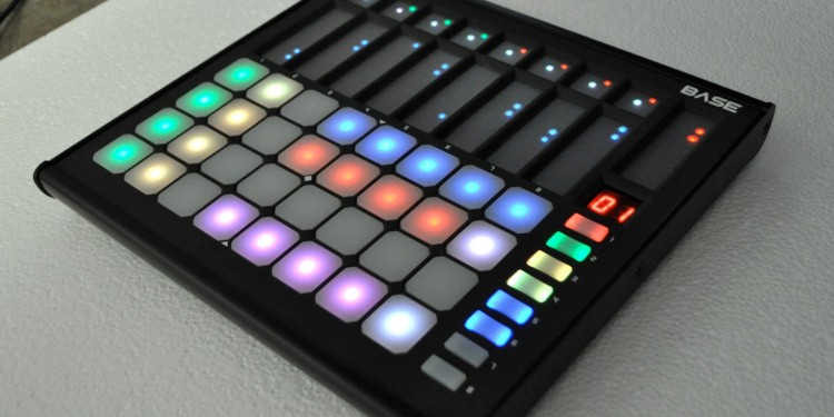 RGB color grid? Mais ouis! Here, though, add in velocity-sensitive touch strips, too. Product photos courtesy Livid Instruments.