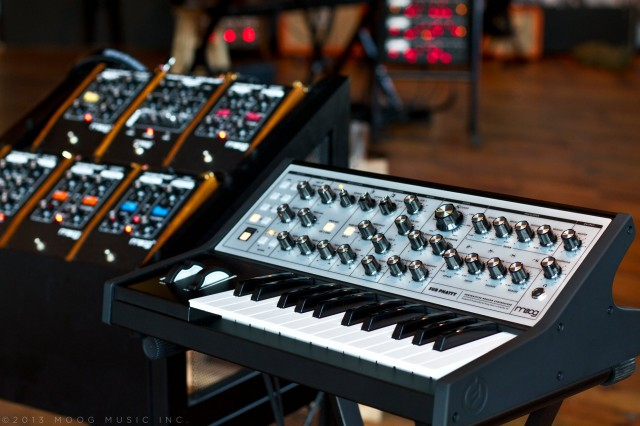 Looking at home astride Moog's pedals, the Sub Phatty. Photo courtesy Moog Music, exclusive debut on CDM.