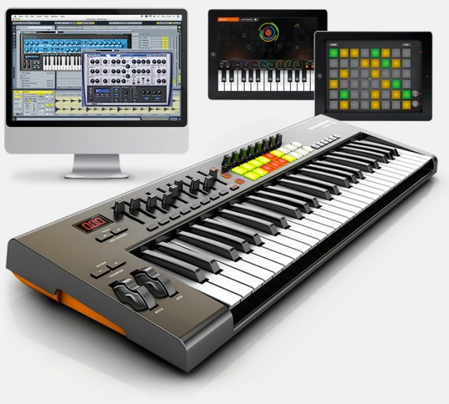 You've seen keyboards with bundled plug-ins and the OEM version of Ableton, Live Lite. But now, we get a keyboard that can work with iPad apps for synthesis and loop triggering - and you can leave the computer out of the picture.