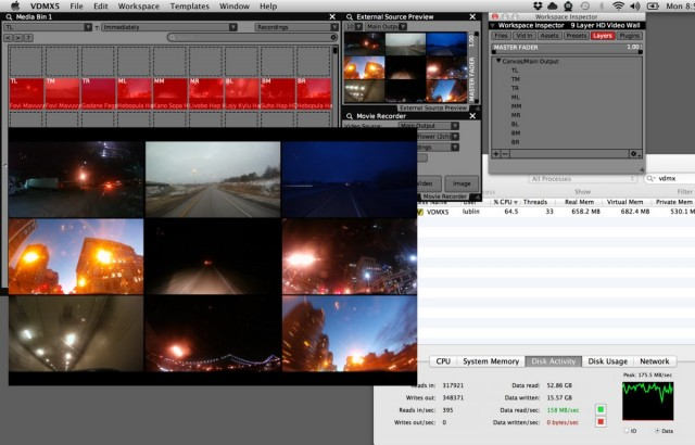 HD videos. Lots of them. Running on an ordinary Mac. (May be time to upgrade to SSD, folks.) Screen courtesy Vidvox, running their flagship VDMX semi-modular visual performance tool.