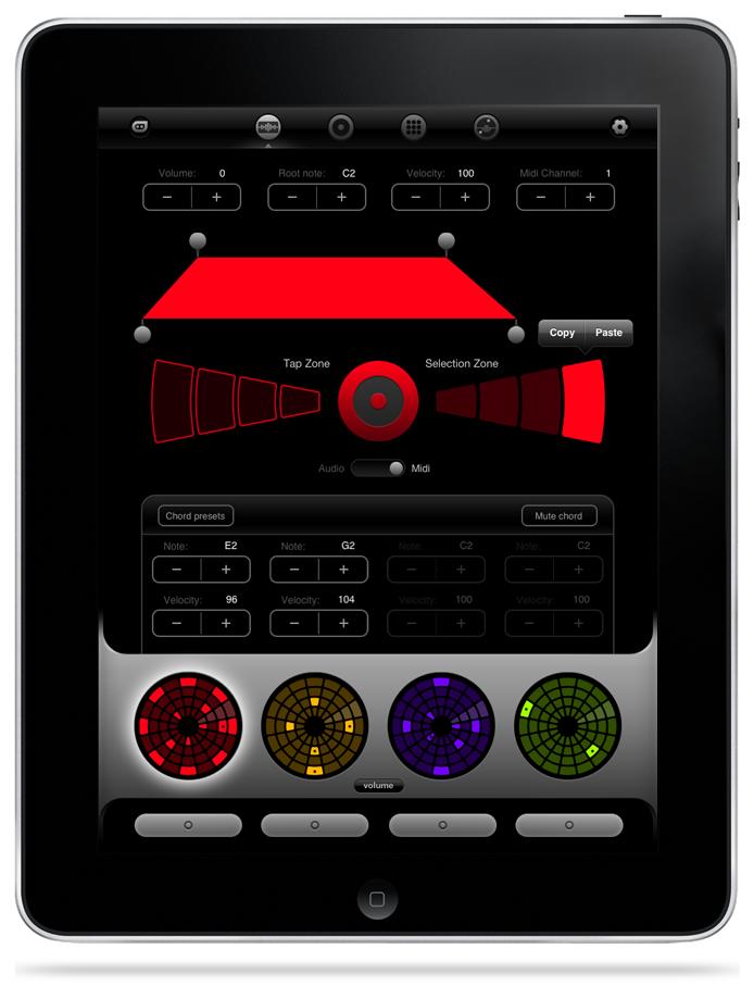With Advanced MIDI Controls, Radial Loopseque App on iPad