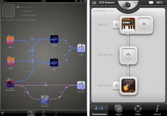 From left: JACK, on iPad, and Audiobus, on iPhone (now with fresh support from GarageBand). JACK does more; Audiobus does less, but in a way that may be clearer to certain users. Why both can survive. JACK image courtesy developers; Audiobus image (CC-BY) T.A. Walker.