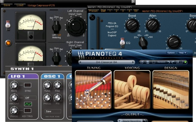 Now, extensive plug-in support includes compatibility with virtual instruments, via that MIDI support. Images courtesy Ardour.