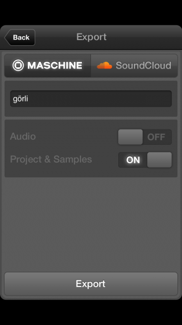 The Export dialog. Just be aware the Export button at bottom right is grayed until you've recorded some pattern - even though you don't necessarily have to keep that pattern once you're back on the desktop.