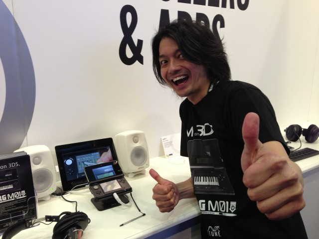 Why is this man smiling? Because he's just shown of M01D, his brilliant synth made for the Nintendo 3DS.