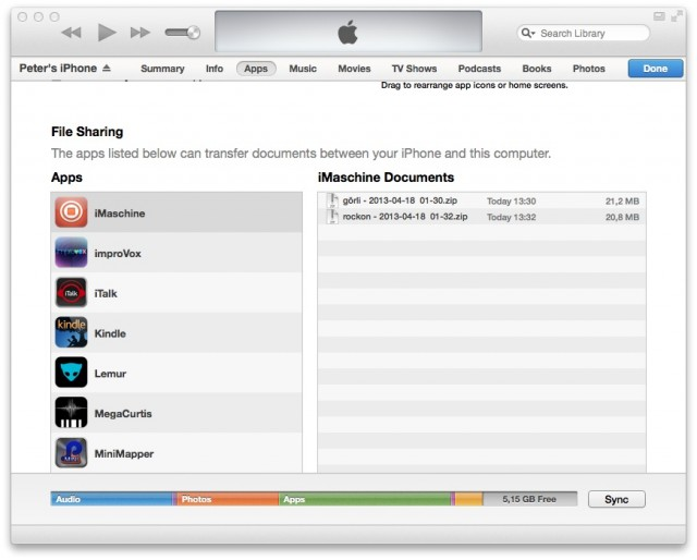 Back in iTunes, you get a zipped-up project you can export to the desktop. Double-click it to open in Maschine.