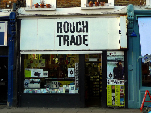 Record lovers are salivating at this image. For the rest of you, it's RoughTrade's storefront. (CC-BY-SA) Ewan Munro.