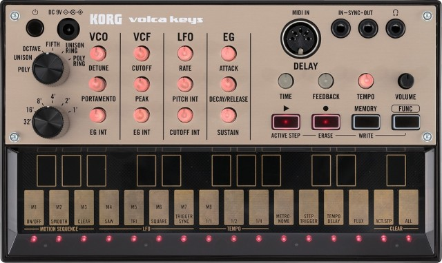 volca keys front panel - click for up-close detail. Photo courtesy KORG.