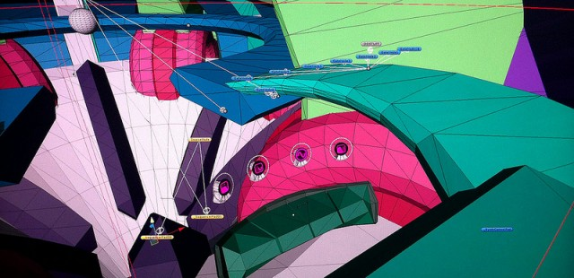 """Believe it or not, this colorful 3D world represents """"setting up the polyphonic pad pattern sequencer."""" Synths, reimagined as 3D game. Image courtesy the developers."""