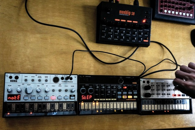 The three volcas pose alongside MeeBlip.