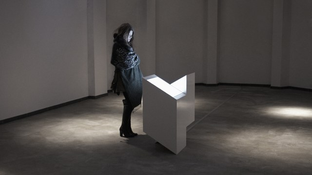 An observer takes in the installation in sculptural form - though much of the sculpture lies in the screen, sound. Image courtesy the artist.