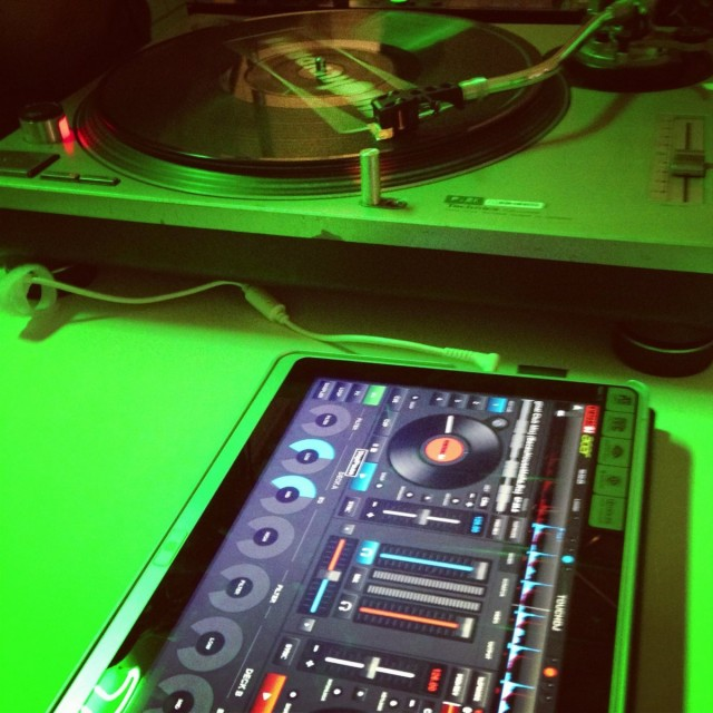 Acer's P3 convertible Ultrabook sits astride a Serato Scratch rig (running on a conventional laptop, actually). The software is a new touch-enabled version of VirtualDJ, made for Acer and currently available free with their touch range. Photo from the Acer event in Taipei.