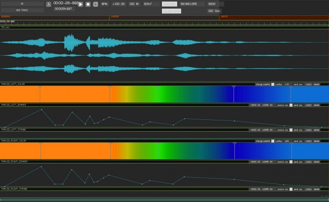 Customized Duration software. Without even knowing what this does, you can see timelines of color and sound and shape elegantly tied together horizontally. This is the image of so much artmaking today, across disciplines.