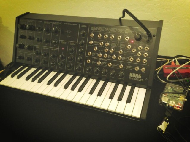 That's an MS-20 mini, connected to the world via Web tech. And below, a Shruthi-1 in the same role. Images courtesy the artist.