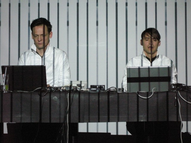 Raster-Noton confounders Carsten Nicolai (Alva Noto) and Olaf Bender, playing together as Signal (with Frank Bretschneider).