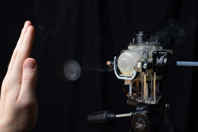 "Flinging air like smoke rings, Aireal is a novel solution to the problem of touchless interaction. ""You'll get used to it in time,"" as Lewis Carroll's Caterpillar might say. Photos courtesy Disney Research."