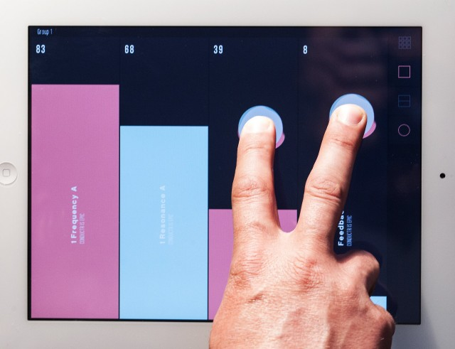 Special gestures mean you  can select one parameter without even looking at the screen - two fingers give you the second fader, for instance.