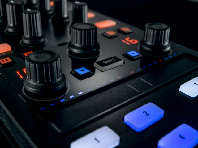 The touch strip in the center is the major enhancement in the MK2 revision of the Traktor Kontrol X1. It gives you continuous control over decks and effects - but unlike on the iPad, you get to keep your dedicated (and sweat-proof) array of controls. Photos courtesy NI.