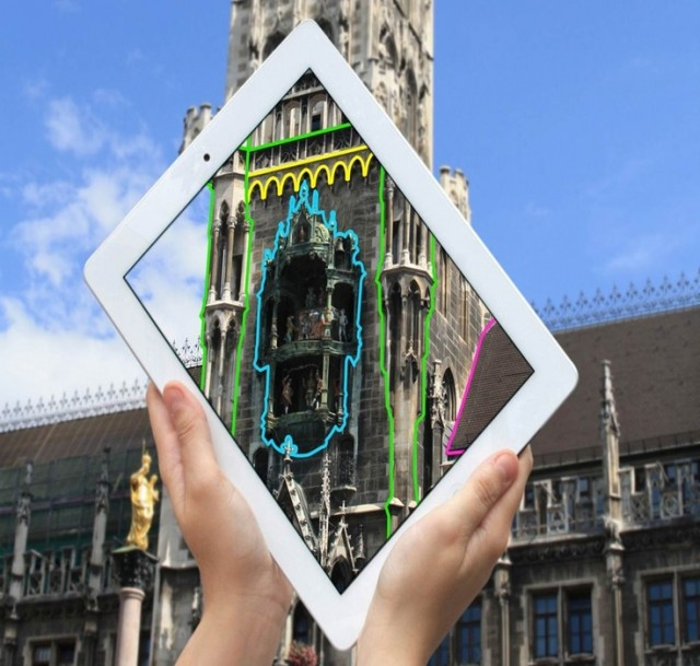 Projection mapping, without the projector. Metaio shows off their tech at Munich's Marienplatz. Photo courtesy Metaio.