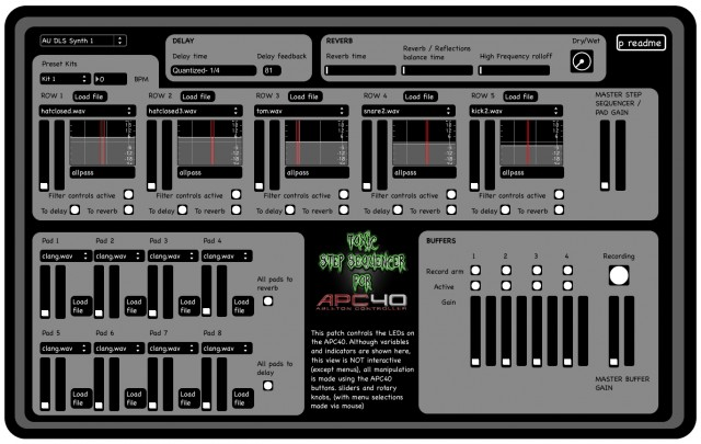 You're toxic I'm slippin' under... an all-in-one template for the APC handles everything from looping to effects with your step sequencing. Screen image by the developer.