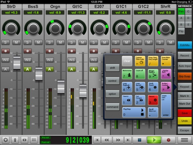 Pro Tools is supported fantastically well, down to this keypad for inputting shortcuts in editing.
