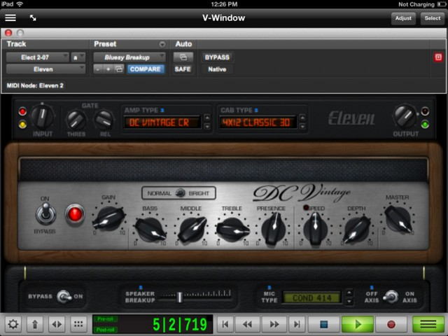 An iPad app lets you touch anything you see on screen - not just a few pre-defined templates. Here, Pro Tools Eleven amp, full-screen in the app as you'd see it on your desktop, but touchable. At bottom, the dedicated transport controls from the iPad app.