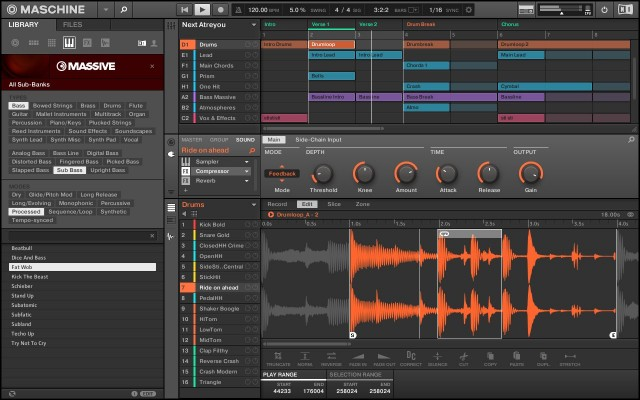 Maschine 2's new UI sports easier arrangement (top right), a proper mixer page, custom heads-up displays for NI plugs, a new browser (left), and a cleaner look.