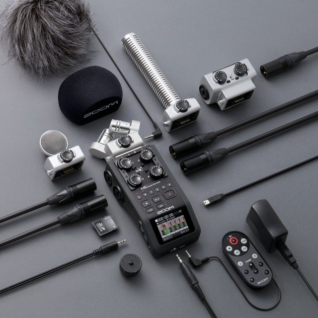 Zoom's new handheld H6 has an ecosystem of stuff to match, making it more adaptable to shooting with an SLR or using it as a musician. It even works with furballs, pictured top left. ;) Photos courtesy Zoom.