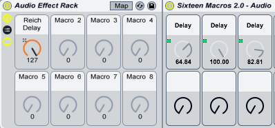 MIDI Delay values, in the Rack.