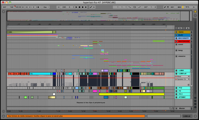The Ableton Live set acts as timeline, and drives the sound.