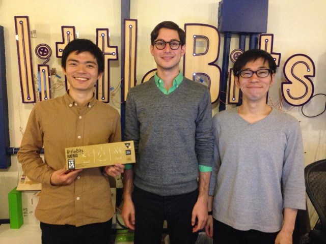 Dream team: littleBits' Paul Rothman (Product Development), flanked by KORG Chief Engineer Tatsuya Takahashi (left) and KORG Product Originator Tadahiko Sakamaki (right). Photo courtesy Tatsuya.