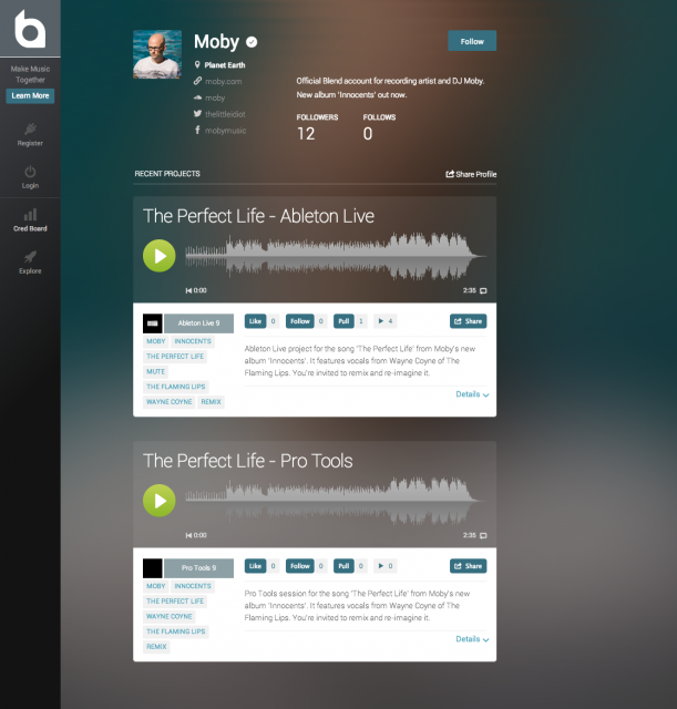 Moby's project files, as seen on blend.io. This isn't just stems: you get the whole projects, and easy access to extensive options for collaboration and revision tracking, so you can actually get some work done. Images courtesy blend.io.