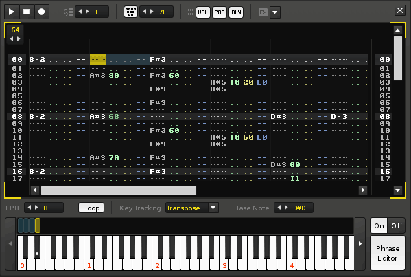 Tracker inside the tracker: instruments can now have their own pattern editors, with the same powerful tracker-style interface.