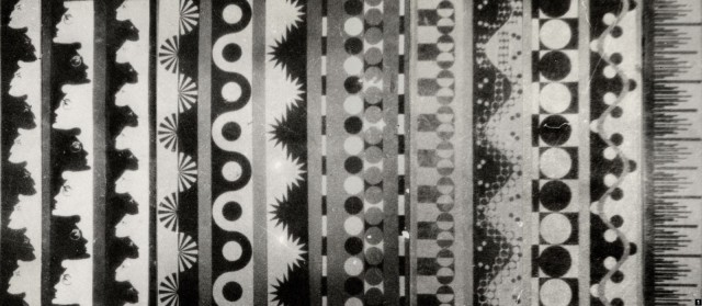 Yankovsky's tracks for optical sound synthesis look like beautiful textiles - partly because they were influenced by those designs. From CTM's Sounds in Z exhibition.