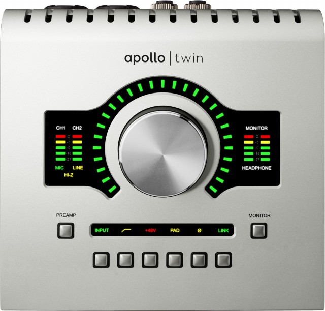 The emphasis on preamp function extends to the hardware interface design. At top, your (analog) level control is front and center, with preamp metering on the left and monitor/headphone metering on the right. You are ... fully metered. At the bottom, you get dedicated controls for the Preamp, so you can play with these new behaviors without looking at the screen. (Type, HPF, 48V, PAD, 0̷, LINK), plus buttons for switching the focus from Preamp to Monitor.