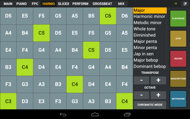 Various dedicated apps provide harmonic grids, but here you get one in an app already tailored to FL.