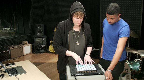 Lando and Machinedrum try out Push. Photo courtesy Ableton.